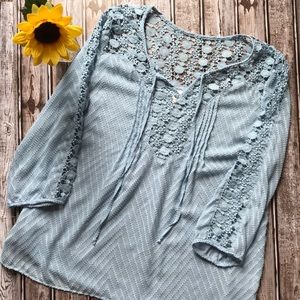 Bila blue crochet lace sheer blouse